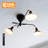 可動型 3灯式シーリングスポット リモコン付 6~8畳|ブラック