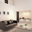 吹抜け空間を明るく、LEDスポット天井壁面傾斜面対応