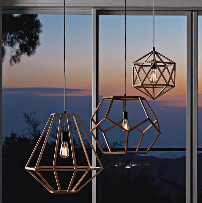 天然木フレームのペンダントライト (店舗照明)