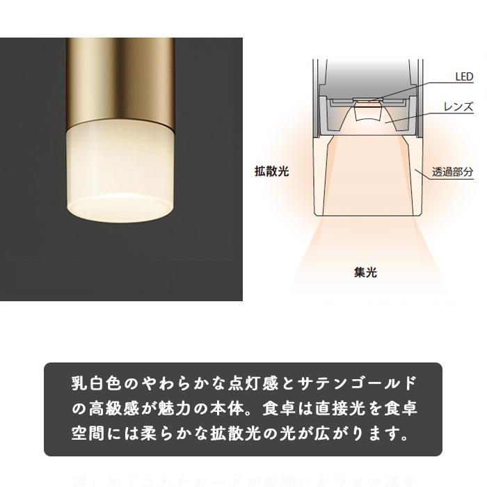 調光対応 LEDペンダントダクトレール用 60W相当・サテンゴールド